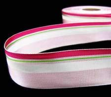 - 1 Yd Valentine Pink Light Pink White Striped Acetate Grosgrain Ribbon 1 1/2