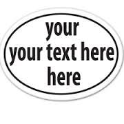 Custom Text Here Oval, Vinyl Car Decal, White', 5-by-5 inches'