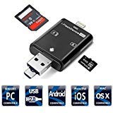 SD Card Reader, 3 in 1 Memory Card Reader for SD Card TF Card, Compatible Android Phones/iPhone Device/PC/Tablets