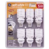 GE Energy Smart U700169S Soft 100 W Light Bulbs, White, Pack of 6