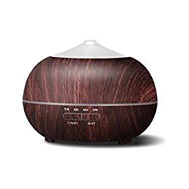 Tenswall 400ml Aromatherapy Essential Oil Diffuser, Cool Mist Air Humidifier, 4 Timer Setting, 7 Color Changing LED Lights, Auto Shut-off for Yoga Spa Office Home Dark Brown Wood Grain