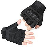 elegantstunning Ventilate Wear-resistant Fingerless Hard Knuckle Tactical Gloves Foam Protection for Shooting Airsoft Hunting Cycling 1 Pair Black M