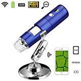 Wireless Wifi Portable Digital Microscope with 2MP Camera,1080P HD Video Recorder,50x to 1000x Magnification,8 LED Lights and Mini Pocket Rechargeble Kids Microscope for iPhone/iPad/Android phone