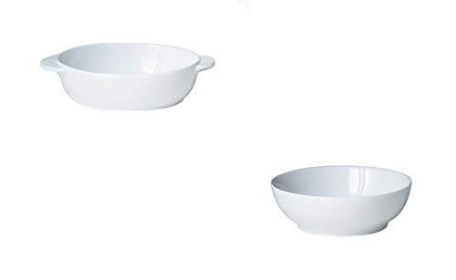 Denby White Small Oval Dish and Cereal Bowl, Set of 8