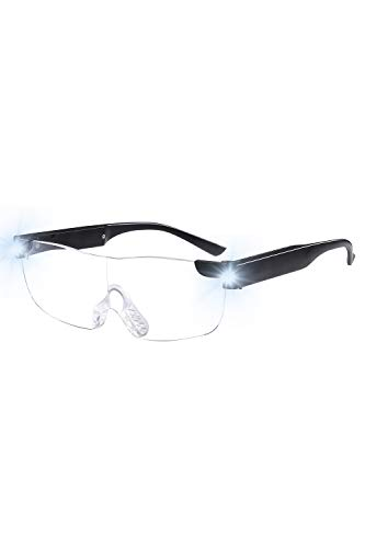 Tide Magnifying Glasses with Light Led USB Rechargeable Magnifier Eyeglasses LED Big Zoom Vision (Black, 1.6X)