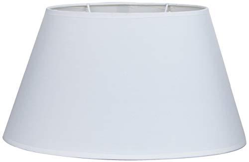 Better & Best Oval 35 Cm Blanca Pantalla de lámpara de Algodon, Forma Ovalada, Lisa, de 35x22 cm, Color