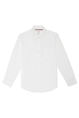 French Toast Big Boys' Long Sleeve Poplin Dress Shirt, White, 12 -