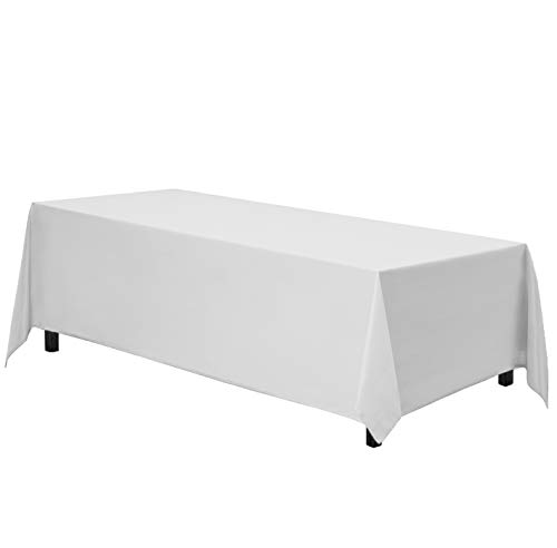 Gee Di Moda Rectangle Tablecloth - 70 x 120 Inch - White Rectangular Table Cloth in Washable Polyester - Great for Buffet Table, Parties, Holiday Dinner, Wedding & More