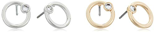 H Halston Women's Stone Two Tone Circle Stud Earrings Set, Crystal, One Size from H Halston