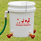 Automatic Chicken Waterer Kit (Bucket NOT Included) - New Version Cups (from Holland) - Auto Float Valve (Made in USA) (4 Cups) by Chicken Culture