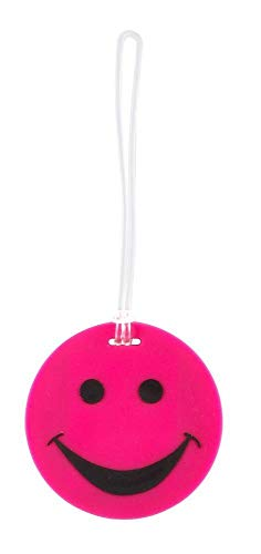 Lewis N. Clark Smiley Face Rubber Luggage Tag (Pink)