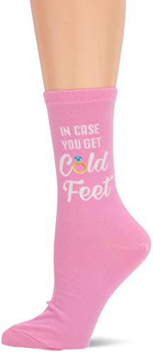 Hot Sox Women's Wedding Bliss Novelty Casual Crew Socks, In In Case you get cold Feet (Petal Pink), Shoe Size: 4-10 Size: ()