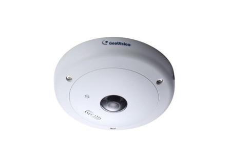 5.0 Mp Geovision Fisheye Ip Dome Camera With White Earbud Headphones
