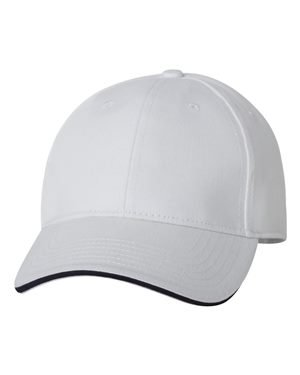 (Bayside - USA-Made Structured Twill Cap - 3621 - Adjustable - White/ Navy)