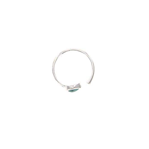 Pura Vida Wrap Silver Plated Ring w/Turquoise Stone - .925 Sterling Silver Band - Size 8