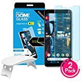 (2 Pack) Dome Glass Google Pixel 2XL Screen Protector Tempered Glass Shield, [Liquid Dispersion Tech] 2.5D Edge of Screen Coverage, Easy Install Kit and UV Light by Whitestone for Google Pixel 2 XL by Dome Glass
