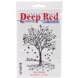 Deep Red Stamps Fall Leaves Rubber Stamp