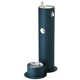 Tubular Pedestal Outdoor Drinking Fountain w/ Pet -