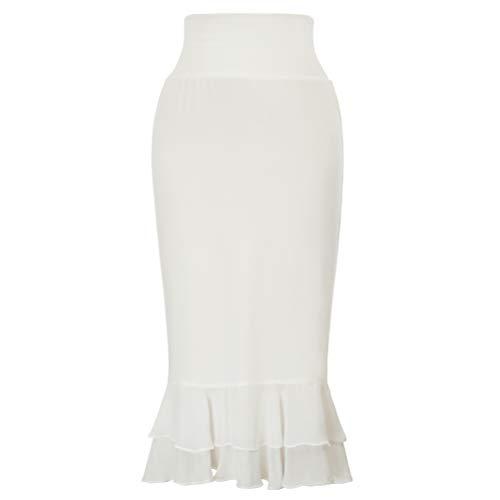 Ladies Chiffon Ruffle Dress Skirts Extender(M,Ivory)