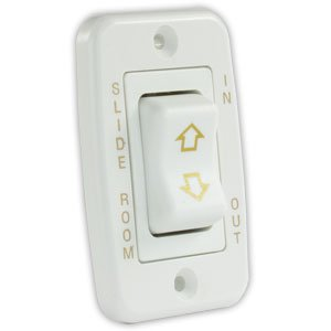 JR Products 12345 White Low Profile Slide-Out Switch with Bezel -