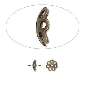 (Bead cap antique gold-plated brass 6x2mm round with cutout pattern fits 6-8mm bead-H20-A1082FN)