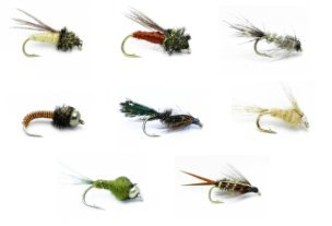 hing Assortment for Trout and Other Freshwater Fish - 32 Nymph Flies - 8 Patterns - Caddis Pupa, Hare's Ear Natural, Brassie, Zug Bug, Light Cahill, Bead Head Olive, Prince ()