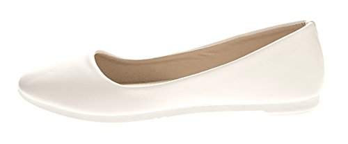 Scandi Damen Ballerinas Kunst Leder Flach Schuhe Schwarz Weiß Blau Slipper Sandalen Gr. 36-41 Weiß
