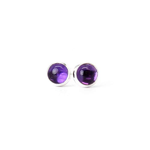 Amethyst Studs, Small 4mm, Sterling Silver
