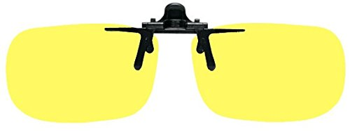 Polycarbonate Clip-on Flip-up Canary Yellow Enhancing Driving Glasses - Large True Rec - 60mm Wide X 38mm High X 128mm Overall Width or 2.36 Inches Wide X 1.50 Inches High - Glasses Safety Vs Sunglasses
