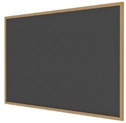 Ghent 36'' x 46.5'' Wood Frame, Oak Finish Recycled Rubber Bulletin Board - Black (WTR34-BK)