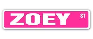Vinyl USA Zoey Street Sticker Sign Name Childrens Room Door Gift Kid Child boy Girl Wall Entry