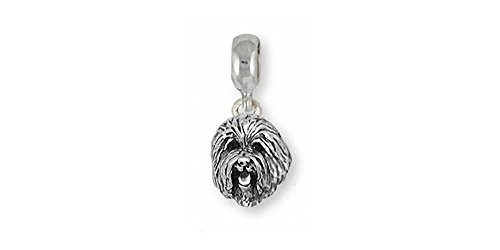 Old English Sheepdog Jewelry Sterling Silver Old English Sheepdog Charm Slide Handmade Dog Jewelry OE2-PNS