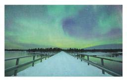 Ambesonne Aurora Borealis Doormat, Long Mystic Sky Over Bridge in Snowy Arctic Frozen River Image, Decorative Polyester Floor Mat with Non-Skid Backing, 30 W X 18 L Inches, Lime Green -