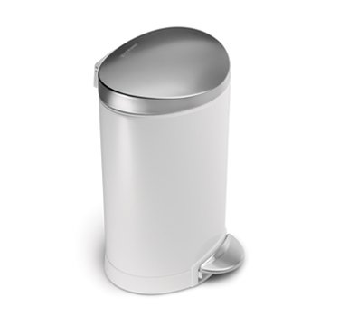 simplehuman Semi -Round Pedal Bin, 6 L - White Steel