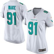 New Onfield Cameron Wake Women's Miami Dolphins White Game Jersey (L)