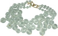 LIGHT GRAY KENNETH JAY LANE-3 STRAND SILVER PEARL CLUSTER DROPS NECKLACE-14KT GOLD PLATE