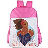 ElishaJ Boys/Girls Serena Tennis Williams Kids School Bag Backpack For 4-15 Years Old Pink
