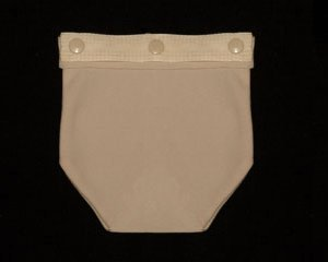 """OstomyPockets Beige--Snap OstomyPockets onto your lightweight undergarment to hold your ostomy bag in place & avoid friction to skin; also great for sleeping; soft wicking fabric 6""""x 6"""" approx by OstomyPockets"""