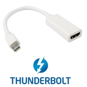 CY Thunderbolt Port to HDMI Female Adapter Cable with Audio Video for Apple MacBook 2011 2012 2013 White