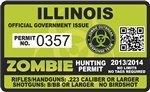 "Illinois IL Zombie Hunting Permit Decal 4"" x 2.4"" Outbreak Sticker"