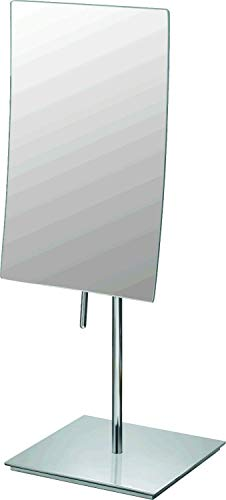 (Mirror Image 82243 Minimalist Rectangular Vanity Mirror, 3X Magnification, Chrome)
