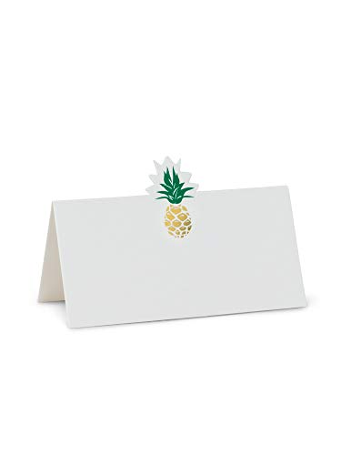 (American Chateau White Paper 12-Pieces Tropical Pineapple Emblem Folded Placecards 1.5