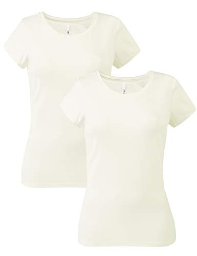 - Zengjo Women's2 Pack Tech Stretch Plain T Shirts Short-Sleeve Crewneck Basic Tees for Women (M, Vanilla/Vanilla)