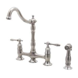 Bridge Faucet Kitchen Two Handle (Glacier Bay Lyndhurst 2-Handle Bridge Side Sprayer Kitchen Faucet in Stainless Steel)