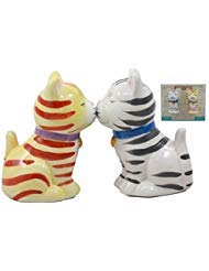 - Ebros Kissing Orange And Gray Striped Tabby Cats Salt And Pepper Shakers Fun Kitchen Dining Ceramic Magnetic Decor Figurines 3.25
