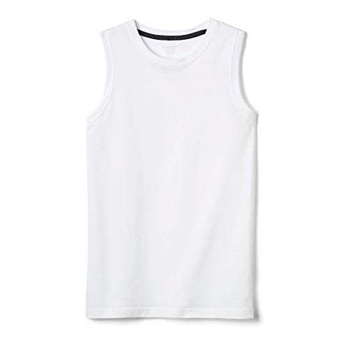 (French Toast Boys'  Sleeveless Solid Muscle Tee, White, 4T,Toddler Boys)