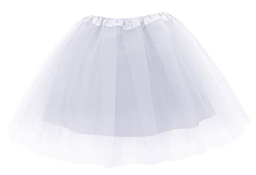 Simplicity Women's Classic Elastic 4-Layered Tulle Tutu Skirt,White -
