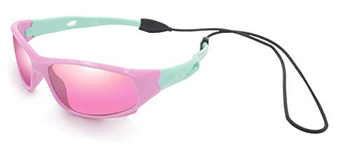 VATTER TR90 Unbreakable Polarized Sport Sunglasses For Kids Boys Girls Youth 816pinkgreenlenses