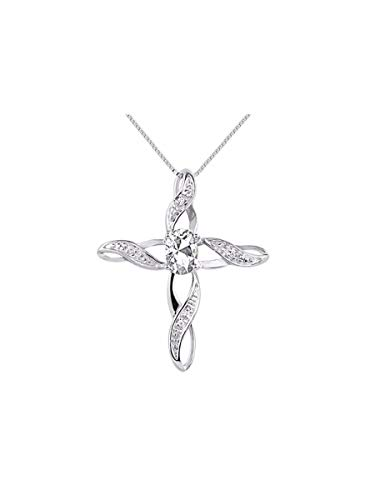- Diamond & White Topaz Cross Pendant Necklace Set In Sterling Silver .925