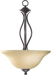 Quorum 8110-3-44 Spencer - Three Light Pendant, Toasted Sienna Finish with Amber Scavo Glass ()